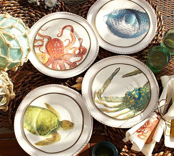 Playa Sea Critter Melamine Salad Plates Mixed Set Of 4