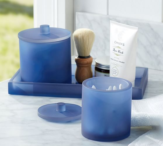 Serra mix and match bath accessories navy blue pottery for Navy bathroom accessory sets