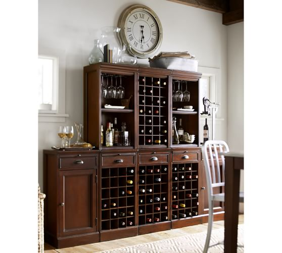 Modular Bar Cabinet With 1 Wine Hutch 2 Open Hutch Pottery Barn