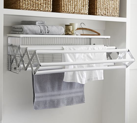 Wallmount drying rack pottery barn - Laundry drying racks for small spaces property ...