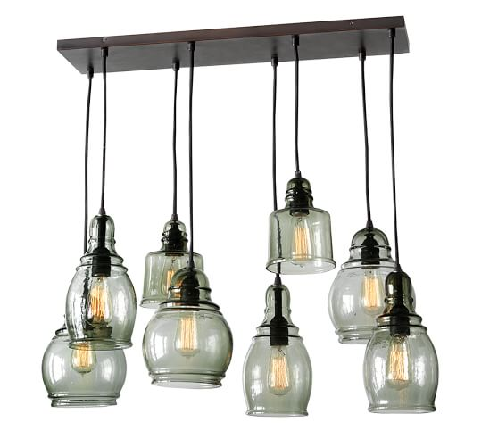 paxton glass 8 light pendant pottery barn. Black Bedroom Furniture Sets. Home Design Ideas