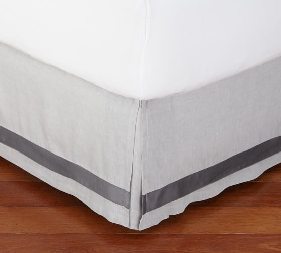 Grey Linen Bed Skirt : Linen with silk trim bed skirt pottery barn