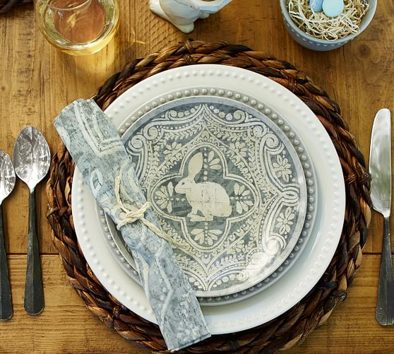 Pottery Barn Plates: Graphic Bunny Plate, Set Of 4