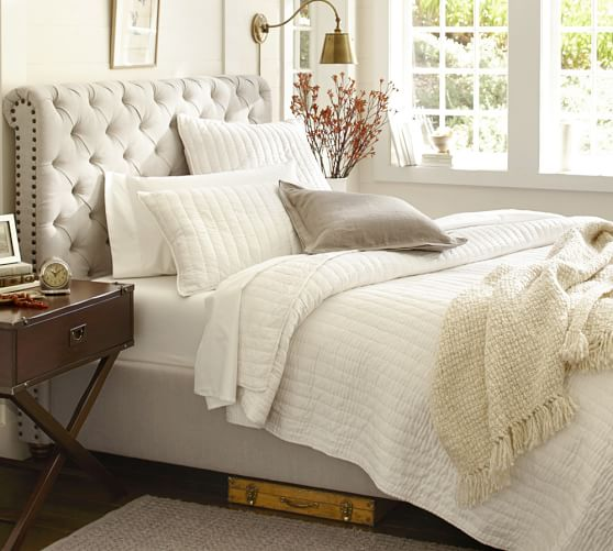 chesterfield upholstered bed headboard pottery barn