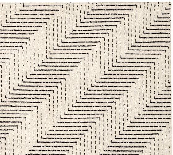 Zig Zag Dhurrie Rug- Black/White | Pottery Barn