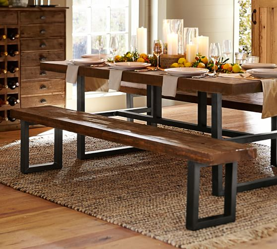 Dining Room Tables With Benches: Griffin Reclaimed Fixed Table & Bench 3-Piece Dining Set