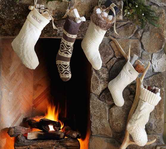 faux sheepskin stocking with bells pottery barn. Black Bedroom Furniture Sets. Home Design Ideas