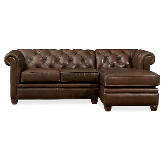 Chesterfield leather sofa with chaise sectional pottery barn for Pottery barn chesterfield sofa sectional