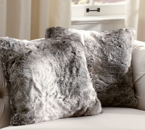 faux fur pillow cover gray ombre pottery barn. Black Bedroom Furniture Sets. Home Design Ideas