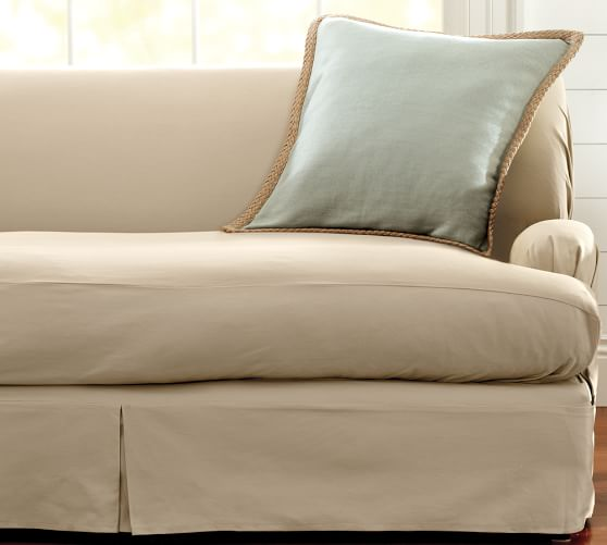 Slipcover For Sofa Without Arms: Separate Seat T-Arm Cushion Loose-Fit Slipcover