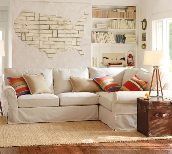 Pb comfort roll arm sectional slipcovers pottery barn for Pottery barn sectional sofa slipcover
