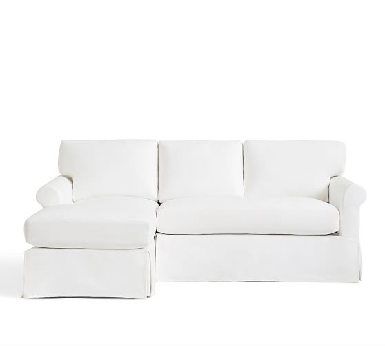 York Roll Arm Slipcovered Sofa With Chaise Sectional