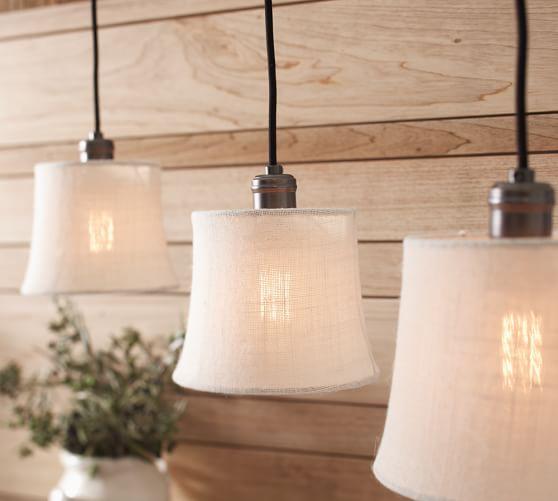 Pottery Barn Hanging Lamp Shades: Burlap Shade Pendant Track Lighting