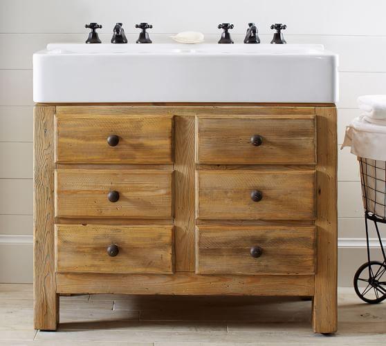 Mason Reclaimed Wood Double Sink Console Wax Pine Finish