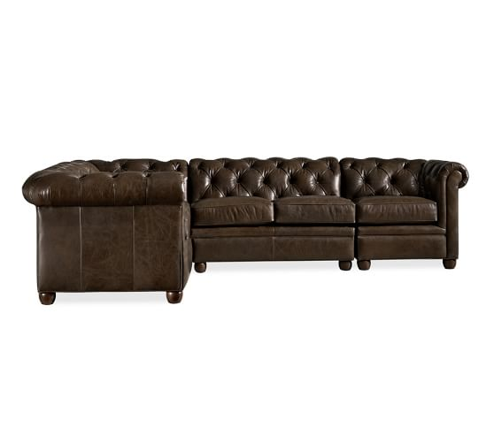 Chesterfield Leather 4 Piece Sectional Pottery Barn