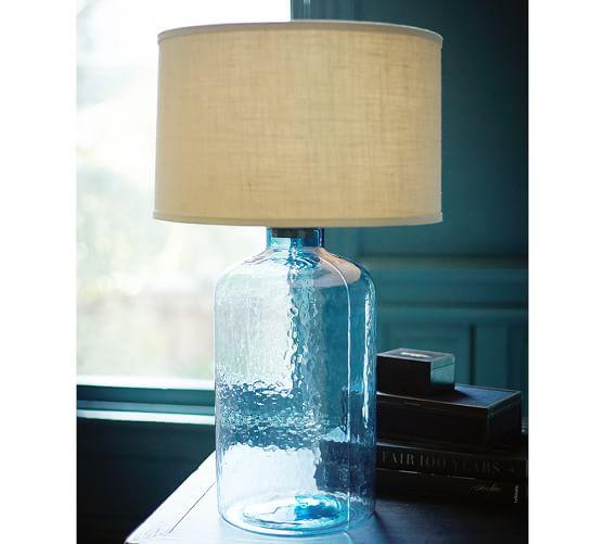 clift glass table lamp base light blue pottery barn. Black Bedroom Furniture Sets. Home Design Ideas