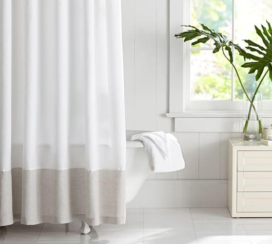linen banded shower curtain pottery barn. Black Bedroom Furniture Sets. Home Design Ideas