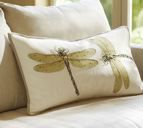 Luxe Dragonfly Embroidered Lumbar Pillow Cover Pottery Barn