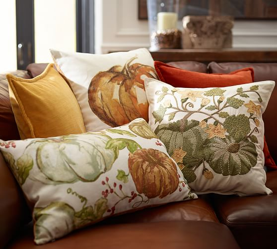 Pumpkin Patch Crewel Embroidered Pillow Cover Pottery Barn