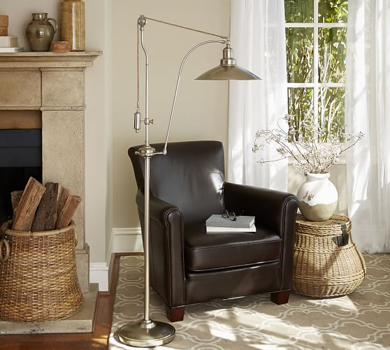 glendale pulley task floor lamp pottery barn. Black Bedroom Furniture Sets. Home Design Ideas