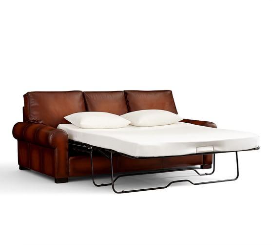 Turner Roll Arm Leather Sleeper Sofa