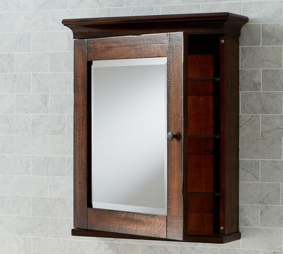 mason wall mounted medicine cabinet rustic mahogany finish pottery barn. Black Bedroom Furniture Sets. Home Design Ideas