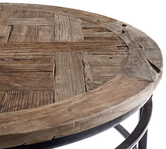Parquet reclaimed wood round coffee table pottery barn Recycled wood coffee table