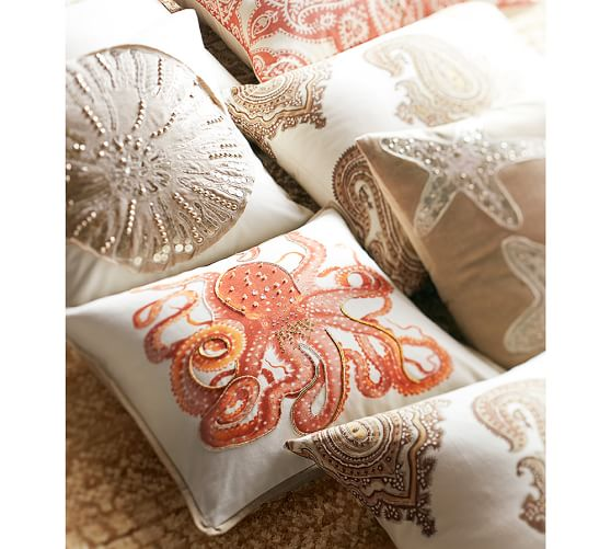 Decorative Jeweled Pillows : La Paz Jeweled Octopus Pillow Covers Pottery Barn