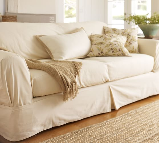Separate Seat Square Cushion Loose Fit Slipcover Twill