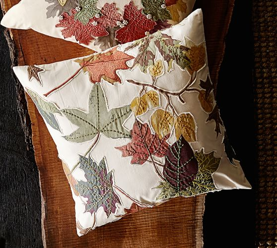 Embroidered Throw Pillows Pottery Barn : Harvest Leaf Applique Embroidered Pillow Cover Pottery Barn