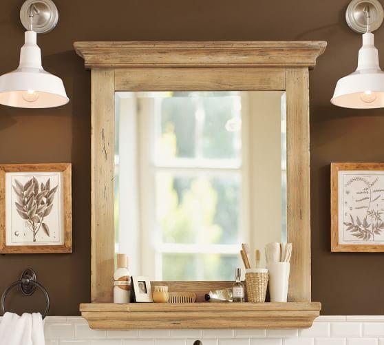 Mason reclaimed wood mirror with shelf wax pine finish pottery barn for Wooden bathroom mirror with shelf