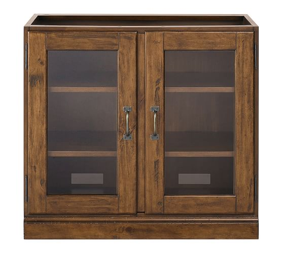 Printer's Double Glass Door Cabinet, Tuscan Chestnut stain