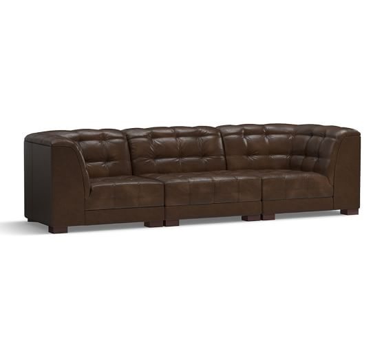 Ken fulk leather 3 piece sofa sectional pottery barn for Sectional sofa pieces sold separately