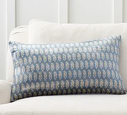 Shibori Embroidered Lumbar Pillow Cover Pottery Barn
