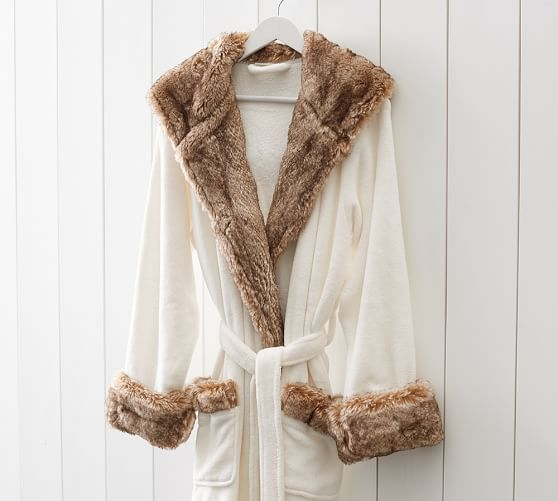 Faux Fur Robe Ivory Caramel Ombre Pottery Barn