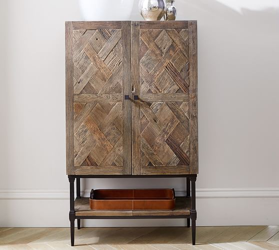 Parquet Bar Cabinet Pottery Barn