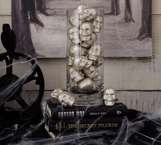 Glitter skull vase filler pottery barn for Skull home decor