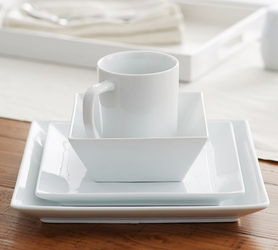 Pottery Barn Plates Discontinued: Great White Square Dinnerware