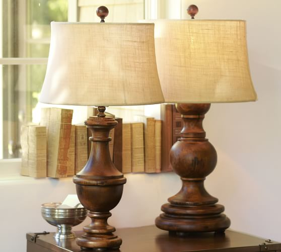 Colette table lamp base pottery barn for Wooden floor lamp pottery barn