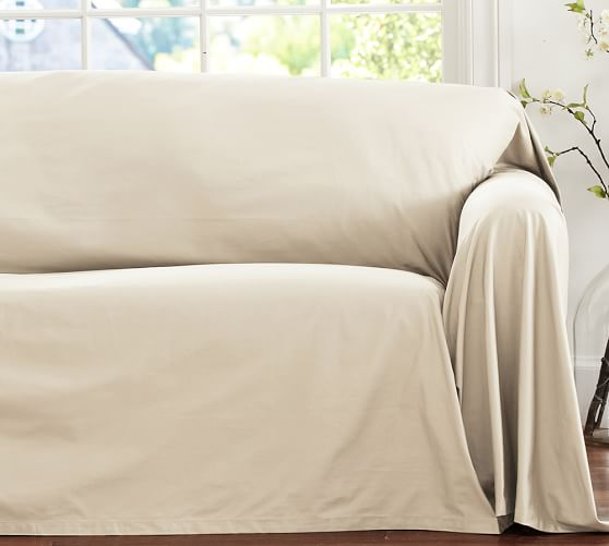 Dropcloth loose fit slipcover twill pottery barn for Cover furniture with sheets