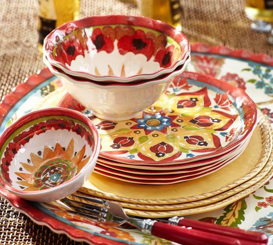 Cabo Melamine Dinnerware, Set of 4 - Red   Pottery Barn