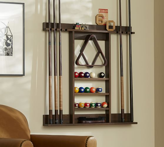 Cue stick wall mount storage rack pottery barn for Cue rack plans
