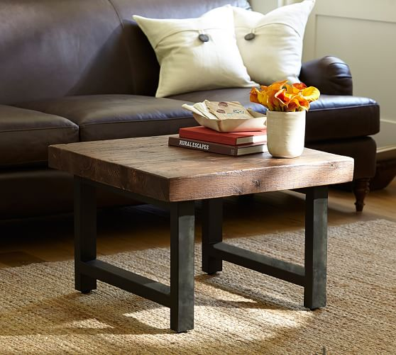 griffin reclaimed wood cube table c Image Result For Pottery Barn Coffee Table