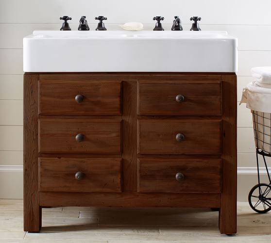 Mason Double Sink Console Rustic Mahogany Finish Pottery Barn