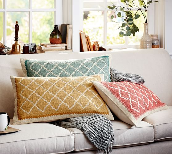 Decorative Pillows From Pottery Barn : Roz Crewel Embroidered Lumbar Pillow Cover Pottery Barn