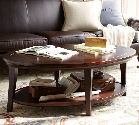 Metropolitan oval coffee table pottery barn for How to decorate an oval coffee table