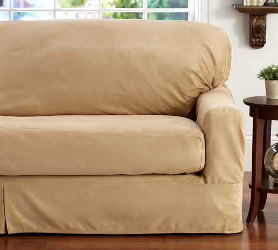 Sofa Slipcover With Separate Cushion Covers: Separate Seat Square Cushion Loose-Fit Slipcover