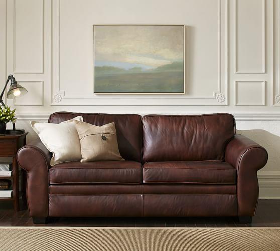 pearce leather sleeper sofa pottery barn. Black Bedroom Furniture Sets. Home Design Ideas