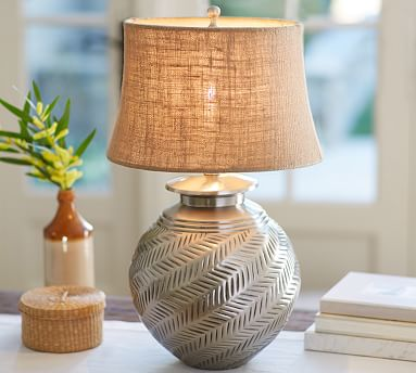 Nadia Hashed Metal Table Lamp Base Pottery Barn