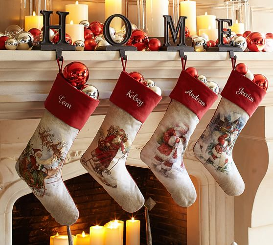 painted santa claus stocking pottery barn. Black Bedroom Furniture Sets. Home Design Ideas